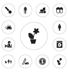 Set of 12 editable kin icons includes symbols vector
