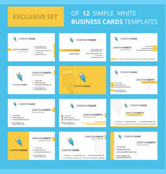set of 12 pen nib creative busienss card template vector image