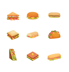set of delicious juicy sandwiches with vegetables vector image