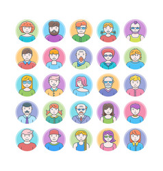 set of flat design avatars vector image