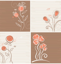 set of floral backgrounds vector image