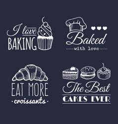 Set of vintage bakery logos retro labels vector