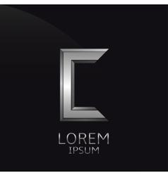 Silver C Letter emblem vector