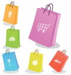 Six shopping bags vector