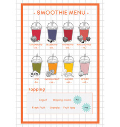 Smoothie menu for cafe and juice bar hand drawb vector