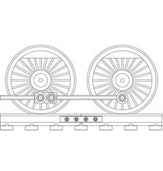 Steam train wheels vector