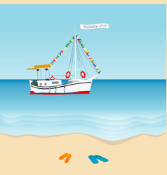 summer holiday 2019 concept with sailboat in the vector image