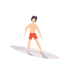 surfer guy riding a surfboard young man enjoying vector image