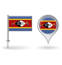 Swaziland pin icon and map pointer flag vector image vector image