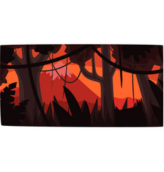 Tropical jungle background at sunset beautiful vector