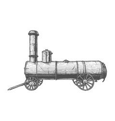 Vintage mobile steam engine vector
