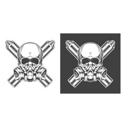vintage monochrome skull with respirator and vector image