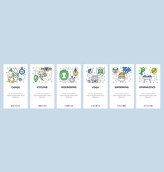 Web site onboarding screens sport icons cycling vector