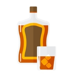 Whiskey bottle and short glass brown drink vector