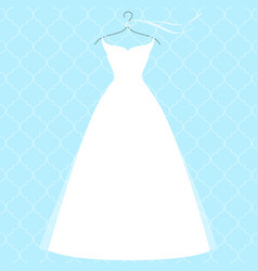 White bridal dress on hanger fashion vector