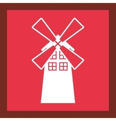 Windmill farm building icon vector