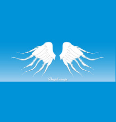 wings on blue background origami style vector image