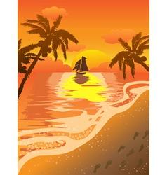 beautiful sunset beach vector image