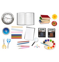 big set of school supples vector image vector image