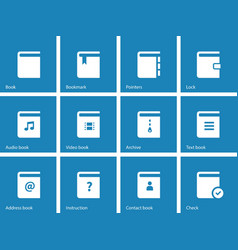 Book icons on blue background vector image