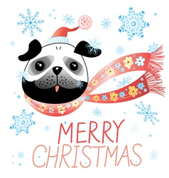 Christmas card with pug vector image vector image