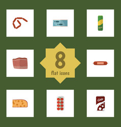 Flat icon eating set of fizzy drink beef vector