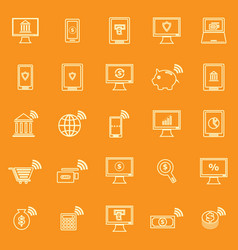 online banking line color icons on orange vector image