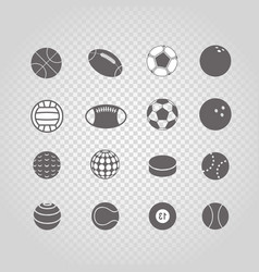 sport ball silhouettes collection set isolated on vector image