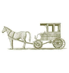Woodcut horse and buggy vector