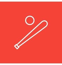 Baseball bat and ball line icon vector image vector image