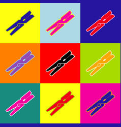 clothes peg sign pop-art style colorful vector image
