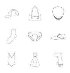 Clothes set icons in outline style Big collection vector image vector image