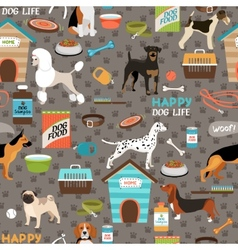 Dogs seamless background pattern vector image