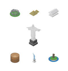 isometric architecture set of athens rio england vector image vector image