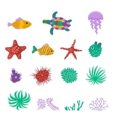 set of sea marine fish animals plants vector image