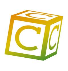 alphabet block toy education icon vector image