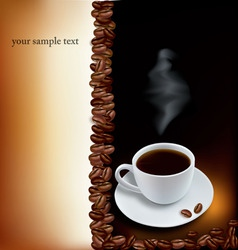 brown desing with cup of coffee and beans vector image
