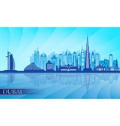 Dubai city skyline detailed silhouette vector image