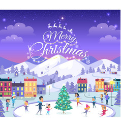 Merry christmas different people on icerink vector