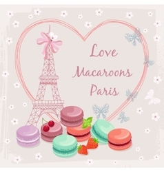 Poster with french macaroon cakes and the Eiffel vector image vector image