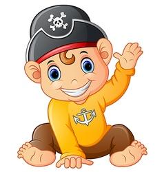 baby pirate waving hand vector image
