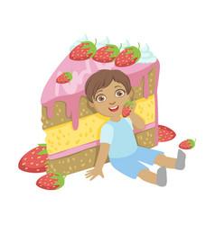 cute little boy sitting near a big strawberry cake vector image