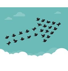 Flock of birds flying in the sky in an arrow vector image vector image