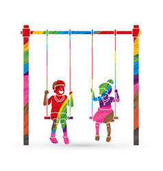little boy and girl are playing swing together vector image vector image