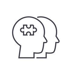 project team puzzle in head line icon vector image
