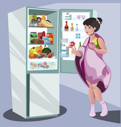 woman near refrigerator thinking what to eat vector image