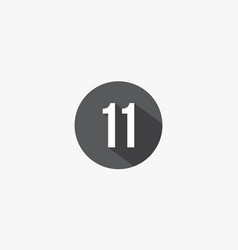 11 number with shadow isolated on white background vector