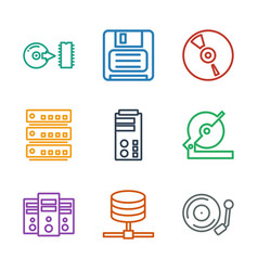 9 disk icons vector