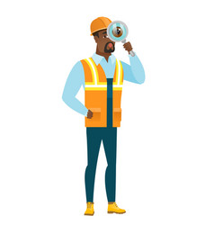 african-american builder with magnifying glass vector image