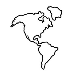 America map icon in black and white vector